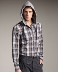 Dolce & Gabbana - Blue Plaid Hooded Shirt for Men - Lyst