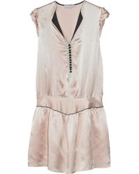 Sandro | Pink Hammered Silk-satin Mini Dress | Lyst