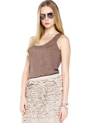 Michael Kors | Brown Michael Skinny Scarf Long Boyfriend Cardigan Ruffle Skirt | Lyst
