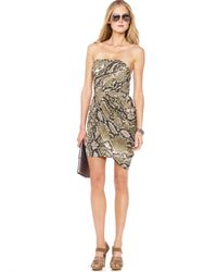 Michael Kors - Multicolor Michael Animal-print Strapless Dress - Lyst
