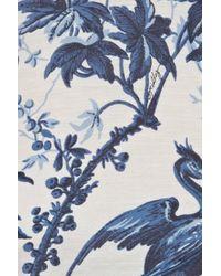 MILLY - Blue Floral-print Silk-chiffon Mini Dress - Lyst