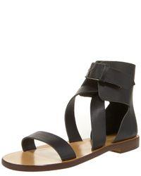 Chloé | Black Ankle-wrap Flat Sandal | Lyst