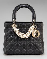Dior | Black Cannage Lambskin Lady Beaded Medium Tote Bag | Lyst