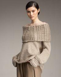 Donna Karan | Natural Airspun Off-the-shoulder Sweater | Lyst