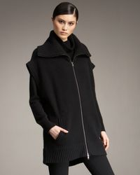 Donna Karan - Black Zip-front Cashmere Vest - Lyst