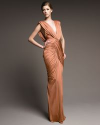 J. Mendel - Natural Ruched Jersey Gown - Lyst