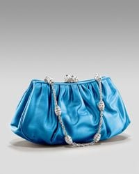 Judith Leiber | Blue New Bean Satin Clutch | Lyst