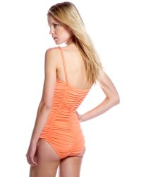Michael Kors | Orange Shirred Swimsuit | Lyst