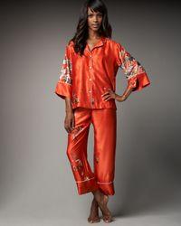 Natori | Red Arita Floral-print Charmeuse Pyjamas | Lyst