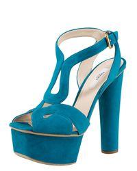 Prada | Blue Platform Sandal | Lyst