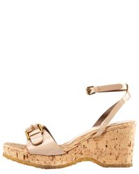 Stella McCartney - Natural Patent Cork-bottom Sandal - Lyst