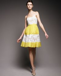 Valentino | Yellow Silk Lace Pleated Dress | Lyst