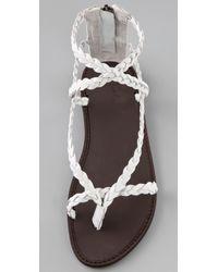 Joie - White Mccartney - Bone Braided Flat Sandal - Lyst