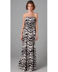 Parker | Black Strapless Long Dress | Lyst