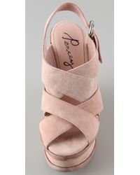 Pencey - Pink Orsino Suede Wedge Sandals - Lyst