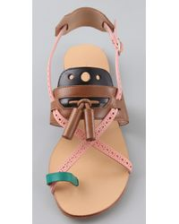 Proenza Schouler | Multicolor Toe Ring Tassel Flat Sandals | Lyst