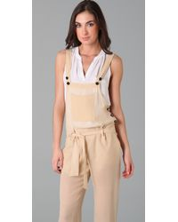 See By Chloé - Natural Chiffon Overalls - Lyst