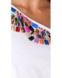 Shoshanna | White Beaded One Shoulder Dress | Lyst