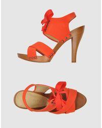 Stella McCartney | Orange Tangerine Faille Tie Detail Sandals | Lyst