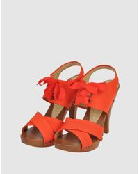 Stella McCartney - Orange Tangerine Faille Tie Detail Sandals - Lyst