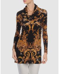 Just Cavalli | Black Neck-tie Printed Blouse | Lyst