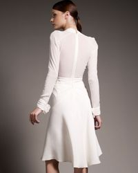 Zac Posen | White Crepe & Chiffon Long Sleeve Dress | Lyst