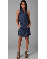 Helmut Lang | Purple Silky Wash Wrap Front Dress | Lyst