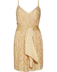 Halston | Metallic Bead-embellished Lace Dress | Lyst