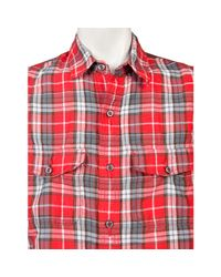 Relwen - Red Rustic Madras Shirt for Men - Lyst