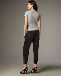 7 For All Mankind | Black Washed Silk Drawstring Cargo Pants | Lyst