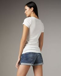 7 For All Mankind   Blue Roll-up Vintage Honolulu Shorts   Lyst