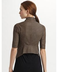 Rick Owens   Brown Cropped Leather Jacket   Lyst
