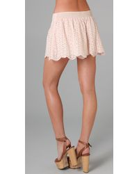 Free People | Pink Eyelet Scalloped Short | Lyst