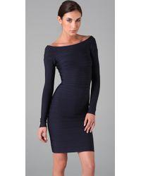 Hervé Léger   Blue Signature Essential Long Sleeve Cocktail Dress   Lyst