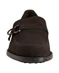 Tod's   Dark Brown Suede Boston Moc Loafers for Men   Lyst