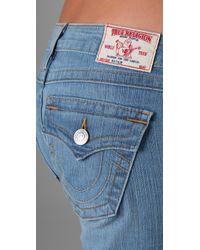 True Religion | Blue Natalie Knee Length Shorts | Lyst