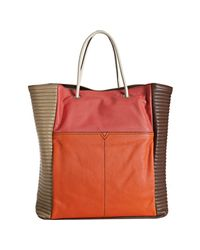 Saint Laurent - Orange Lucky Chyc Color-block Leather Tote - Lyst