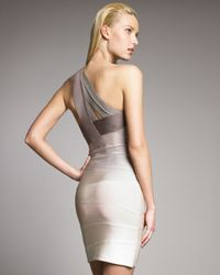 Hervé Léger - Natural Ombre One-shoulder Bandage Dress - Lyst