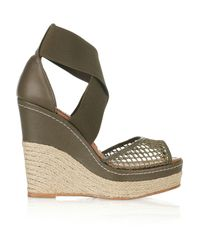 Paloma Barceló - Green Amalaga Mesh and Leather Espadrille Wedges - Lyst