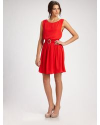 Alice + Olivia | Red Grace Blouson Dress | Lyst