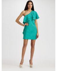 Halston | Green One Shoulder Ruffle Dress | Lyst