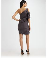 Halston | Gray One-shoulder Shirred Dress | Lyst