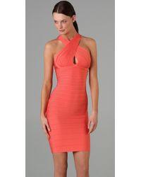 Hervé Léger - Orange Crisscross Open Back Dress - Lyst