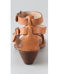 Madewell | Brown Strappy Mini Wedge Sandals | Lyst