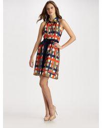 MILLY | Multicolor Madras Plaid Silk Halter Dress | Lyst