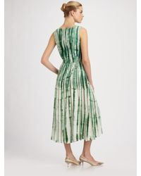 Oscar de la Renta - Green Sleeveless Pleated Dress - Lyst
