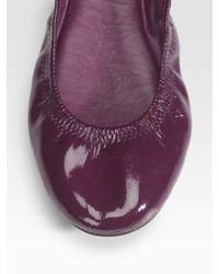Tory Burch - Blue Eddie Patent Leather Ballet Flats - Lyst