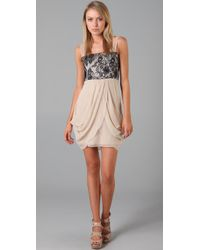 Alice + Olivia | Natural Vivian Lace Bodice Dress | Lyst