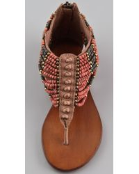 Ash - Natural Molly Beaded Sandal Flat - Lyst
