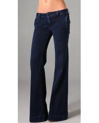 Hudson Jeans | Blue Sadie Mid Rise Wide Leg Trouser | Lyst